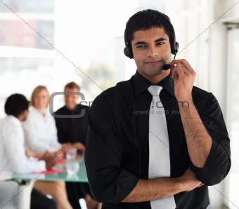 Business man on a headset