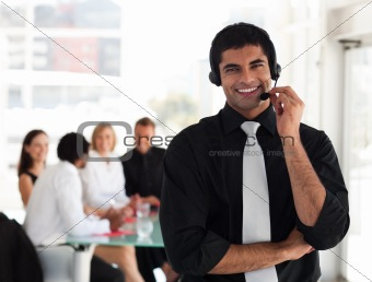 Business man talking on a headset