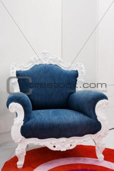 Armchair with a jeans fabric