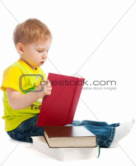 Boy reading books