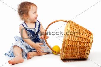 Baby near basket