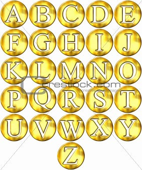 3D Golden Framed Alphabet