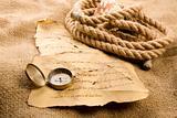 Golden compass on letter
