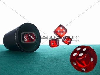 Dices and shaker