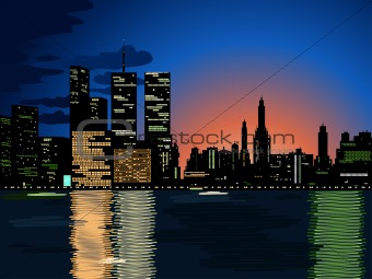 City lights, vector cityscape