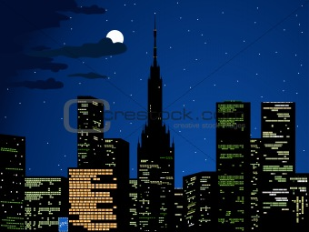 City lights, vector cityscape