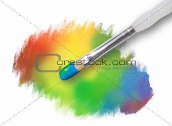 Rainbow Paint Splatter Texture with Paintbrush