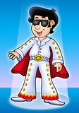 Cartoon Elvis impersonator on stage