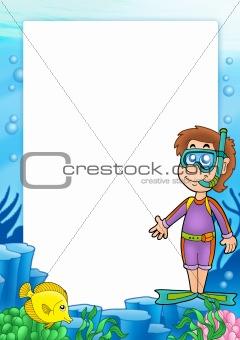 Frame with snorkel diver 2