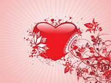red heart with swirl background