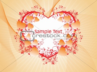 wave background with decorated heart