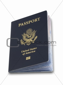 Slightly open US passport, isolated