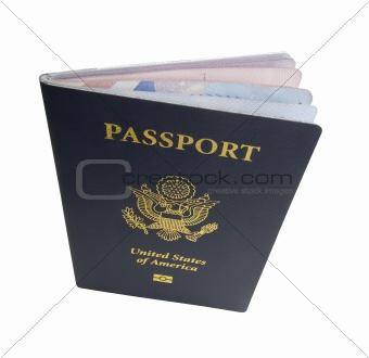 Slightly open US passport, isolated