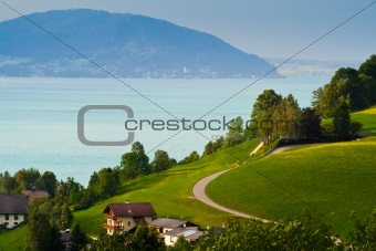 Alpine village and lake