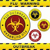Swine flu warning labels and badges