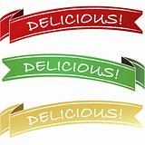 Delicious package or menu label ribbon