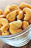 Cashew nuts in glass bowl