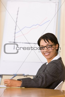 Business woman in board room