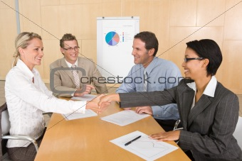 Portrait of business people discussing new strategy