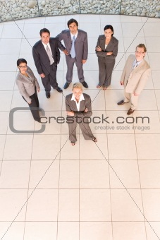Business people standing on floor
