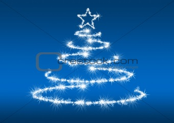 Abstract fur-tree blue background