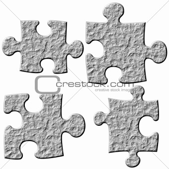 3D Stone Puzzle Pieces