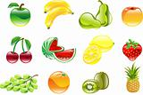 Gorgeous shiny fruit icon set