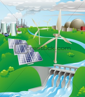 Electricity power generation illustration