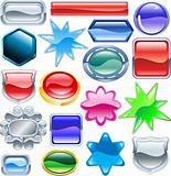 Shiny glossy web shields and backgrounds