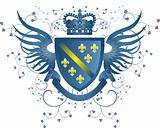 Grunge blue coat of arms with Fleur-de-lis