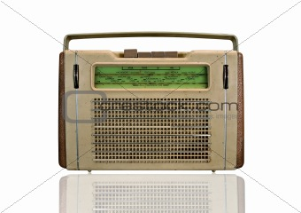 Old retro radio isolated on white