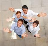 Group portrait of happy business colleagues having fun