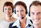 Closeup of happy call center employees