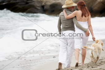 young romantic couple on the beach