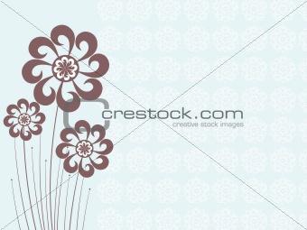 blue artwork background with flower