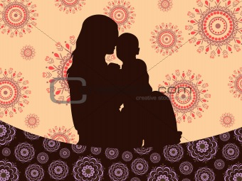 background with mother pampering his child