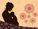 seamless floral background with silhouette