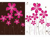 pink flower on white, brown background