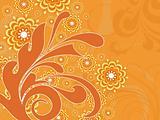 orange background with artwork