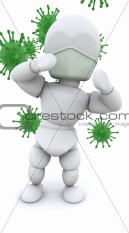 man in mask surrounded by bacteria