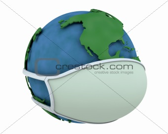 globe in face mask