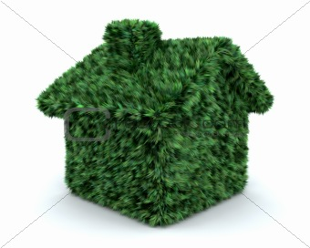 3d render of a grass house isolated on white