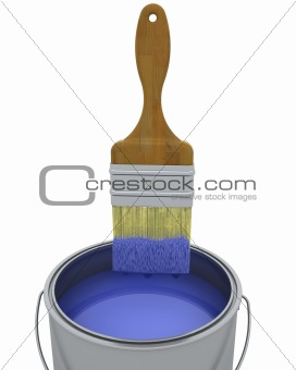 3d render of a paint brush and can isolated on white
