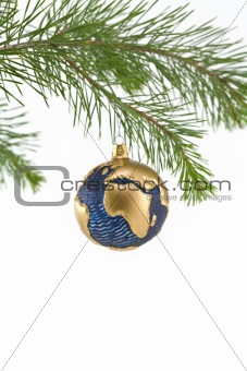 Blue and Gold Globe Christmas Ornament showing Europe and Africa