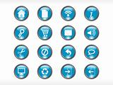 rounded blue web glassy icons set