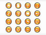 rounded orange web glassy icons set