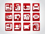 set of abstract icons, red vector illustration