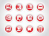 set of abstract rounded icons; red vector illustration