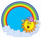 Waking up Sun in rainbow circle