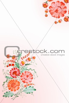 Background with drawn flowers